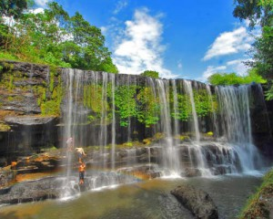 Beautiful Temam Waterfall Palembang Indonesia