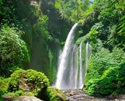 Beautiful Sendang Gile Waterfall Indonesia